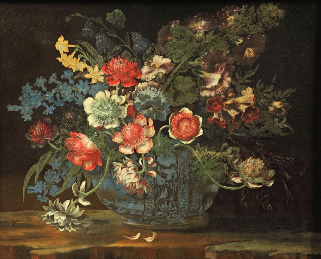 Vaso azzurro con fiori vari Andrea Scacciati
