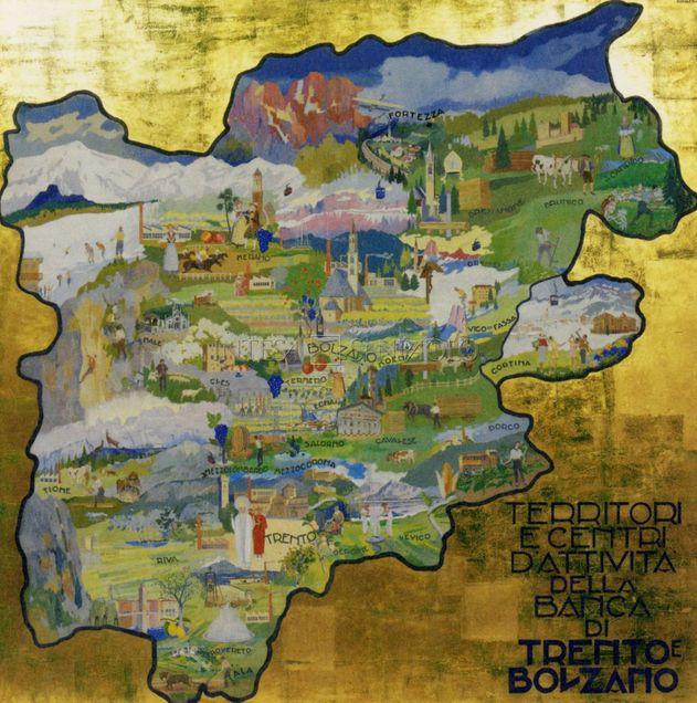 Territori e Centri di attività della Banca di Trento e Bolzano (1956-1962), olio su cartone di Luigi Bonazza, collezione d'Arte BTB