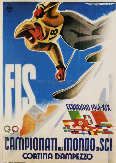 Campionati del Mondi di sci Cortina d'Ampezzo, manifesto di Franz Lenhart, Roma-Milano, Grafiche IGAP, 1940