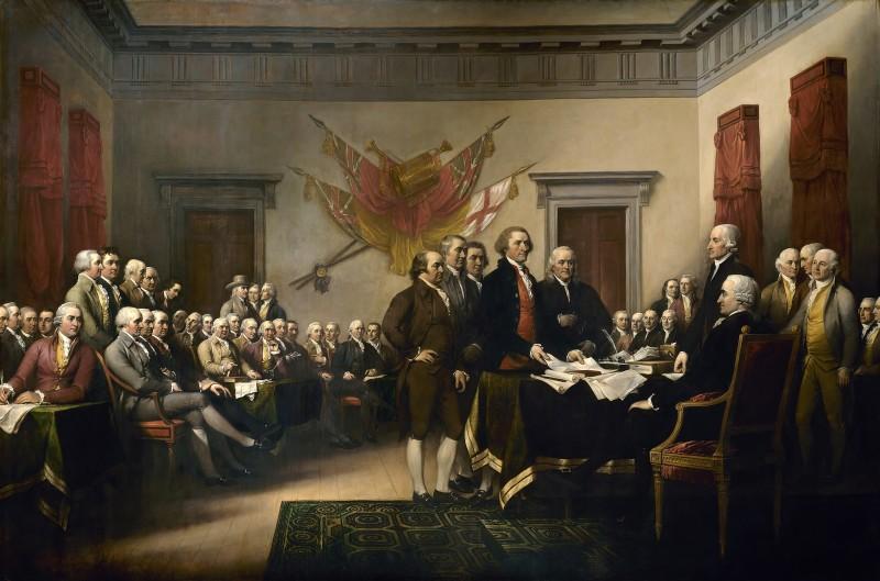 La firma della dichiarazione (incisione di Waterman Lilly Ormsby di un dipinto di John Trumbull)
