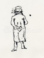 Caricatura di Beethoven, visto di spalle