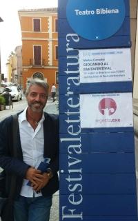 Donato Lanzellotto, di regesta.exe, presso l'area di Giocando al Fantafestival