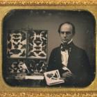 Daguerreotype portrait of a gentleman butterfly collector,   ca. 1850,