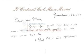 Biglietto di Mauro Lanfranchi, donato alla Fondazione