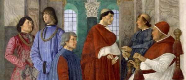 Melozzo da Forlì, Sisto IV nomina Bartolomeo Platina Prefetto della Biblioteca Vaticana