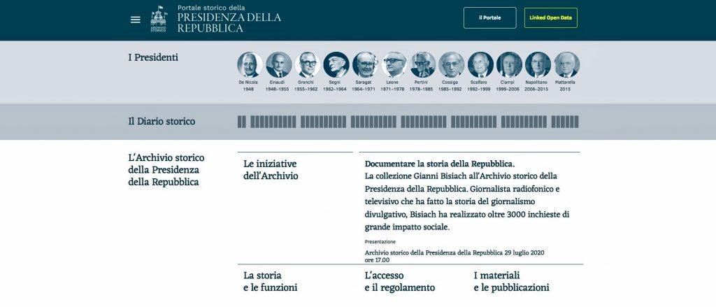 Immagine del portale storico della Presidenza della Repubblica