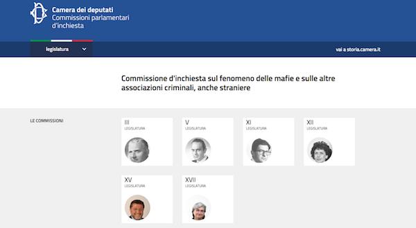 Pagina del portale della Camera inchieste parlamentari